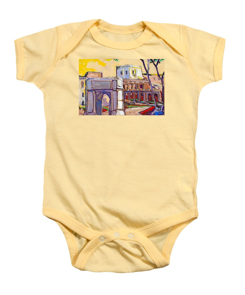 Rome Baby Onesie featuring the painting Arco Di Romano by Kurt Hausmann
