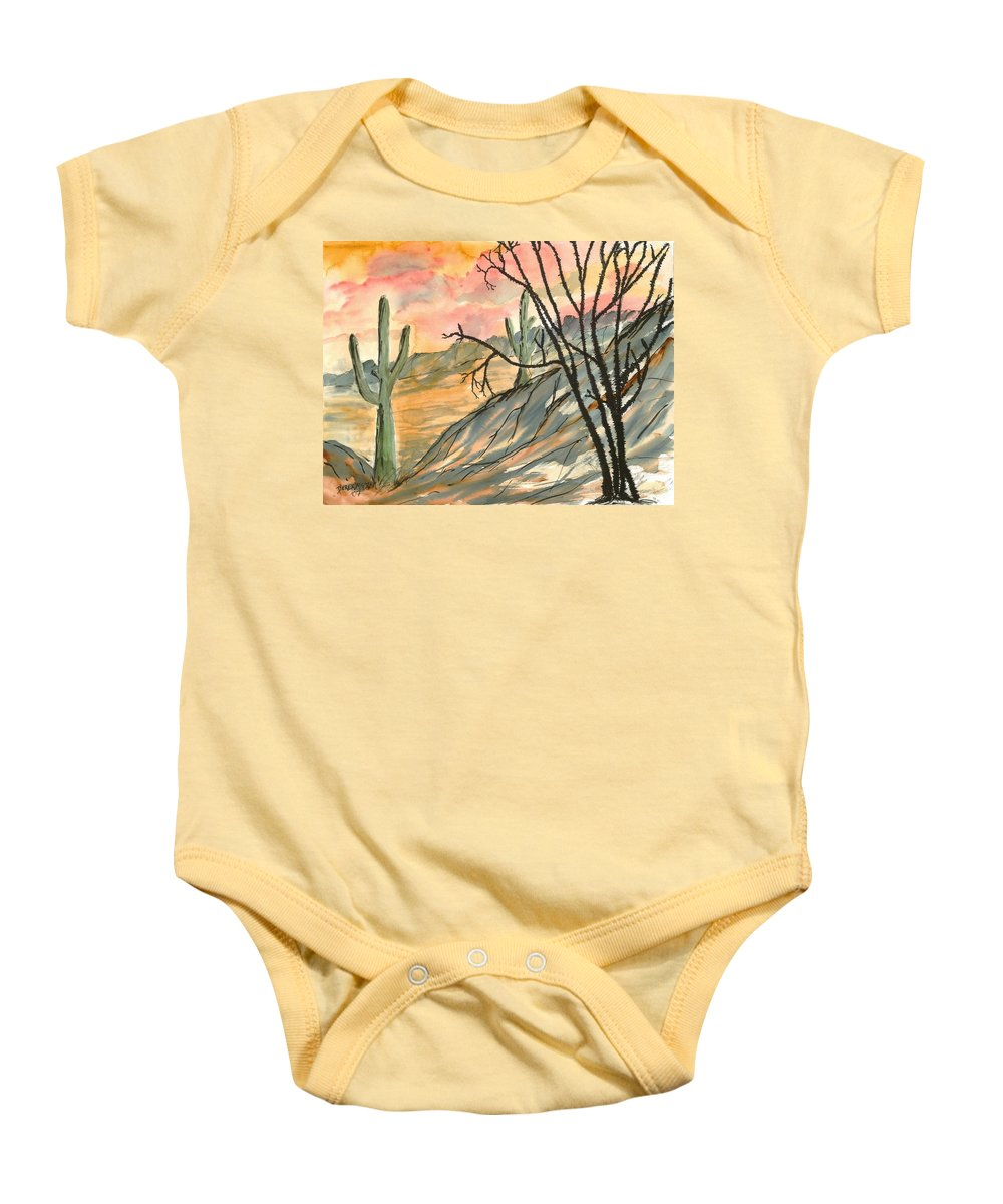 Drawing Baby Onesie featuring the painting Arizona Evening Southwestern Landscape Painting Poster Print by Derek Mccrea