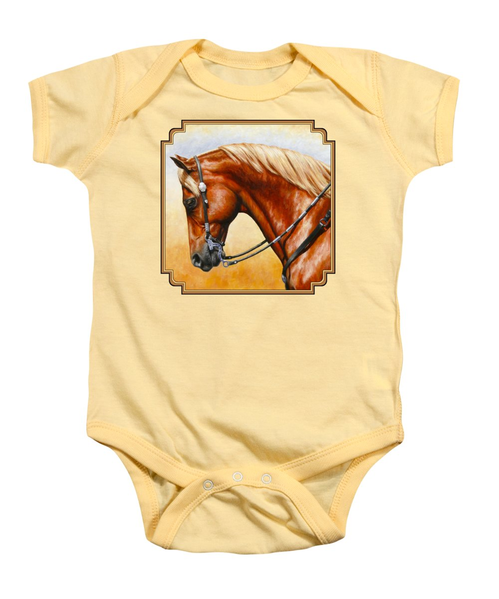 Horse Baby Onesie featuring the painting Precision - Horse Painting by Crista Forest