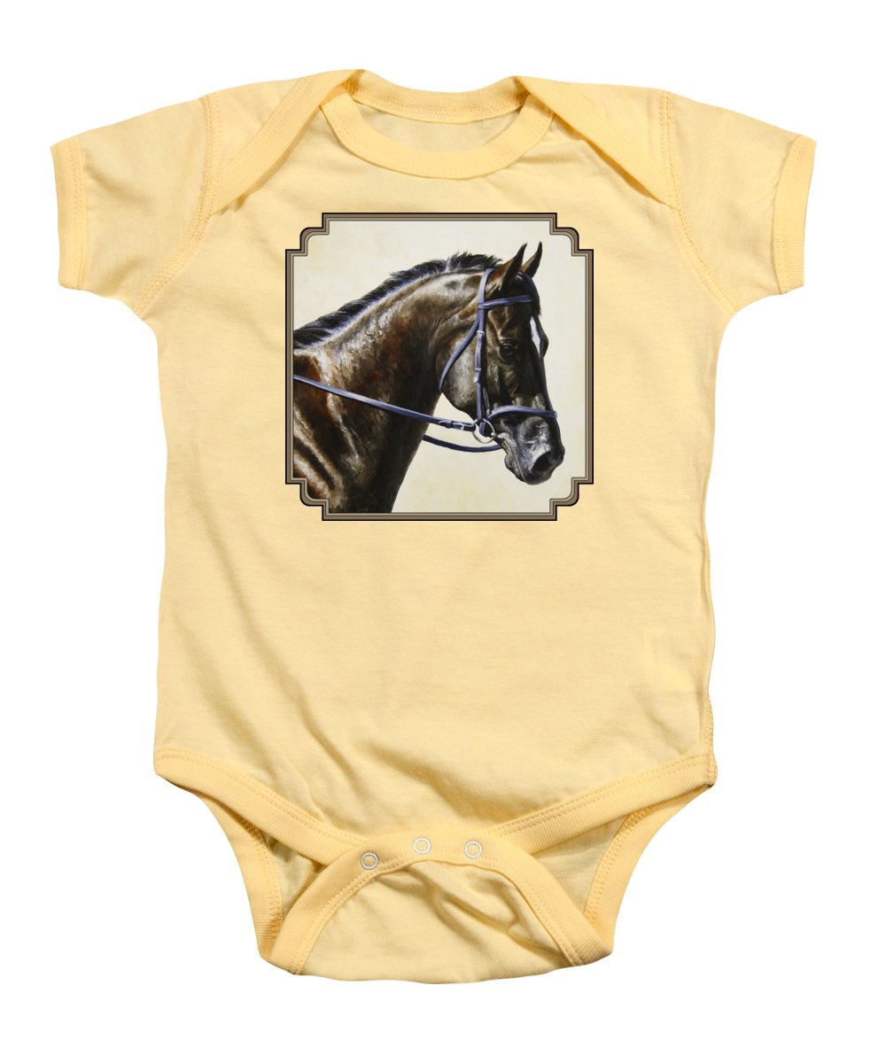 Horse Baby Onesie featuring the painting Dressage Horse - Concentration by Crista Forest
