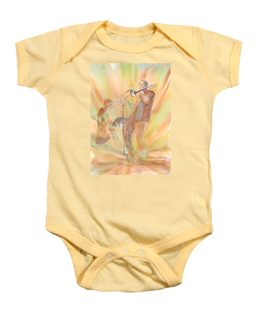 Watercolor Baby Onesie featuring the painting At One With The Music by Debbie Lewis