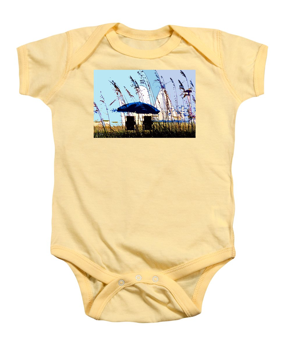 Beach Baby Onesie featuring the painting At The Beach by David Lee Thompson