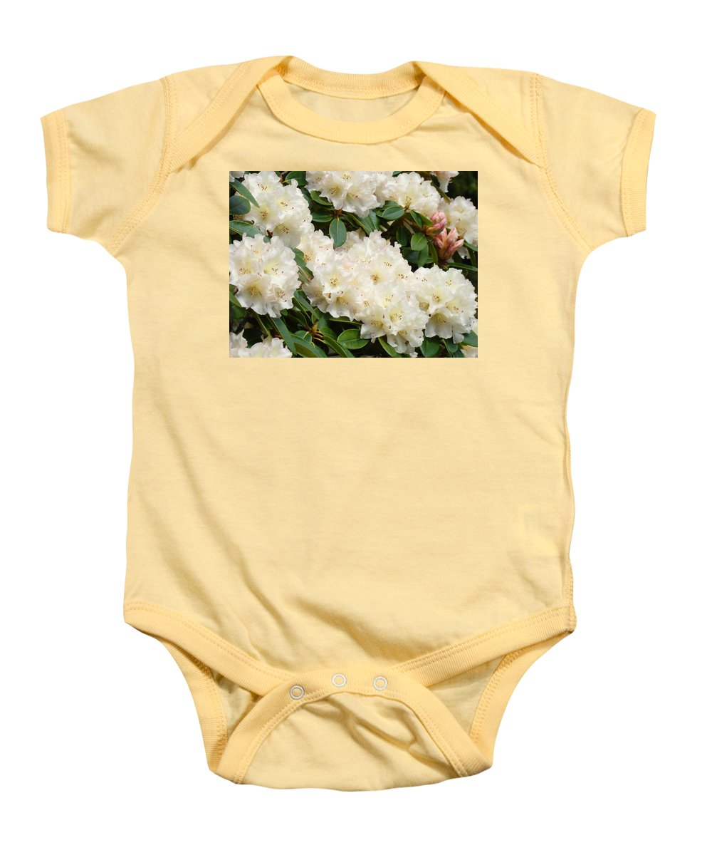 �azaleas Artwork� Baby Onesie featuring the photograph Azaleas Rhodies Landscape White Pink Rhododendrum Flowers 8 Giclee Art Prints Baslee Troutman by Baslee Troutman