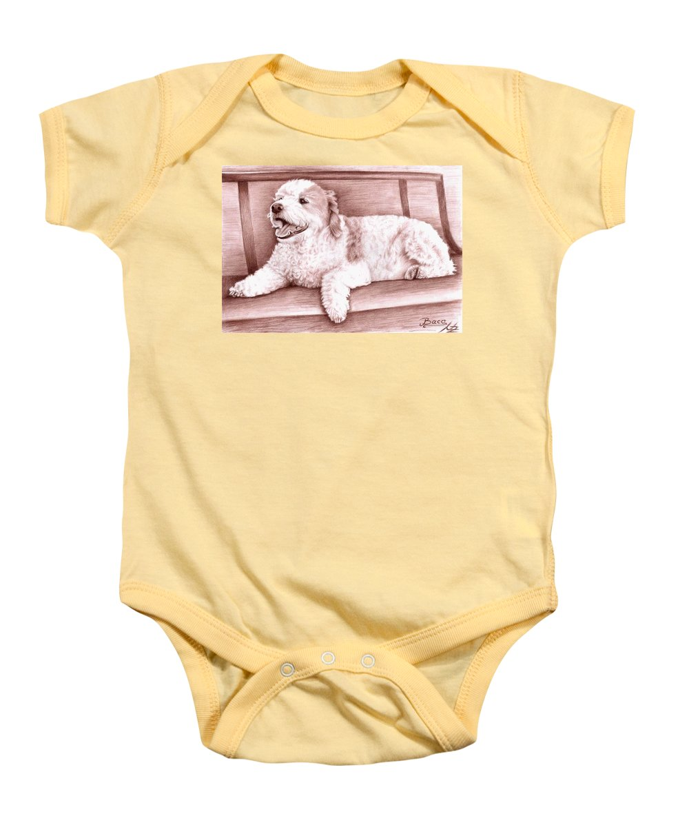 Dog Baby Onesie featuring the drawing Baco by Nicole Zeug