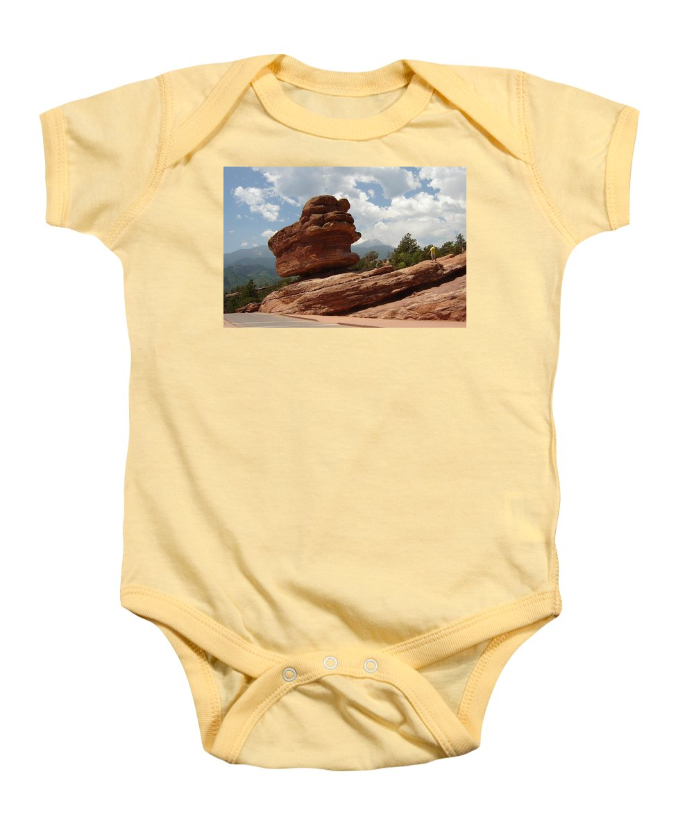 Colorado Baby Onesie featuring the photograph Balance Rock by Anita Burgermeister