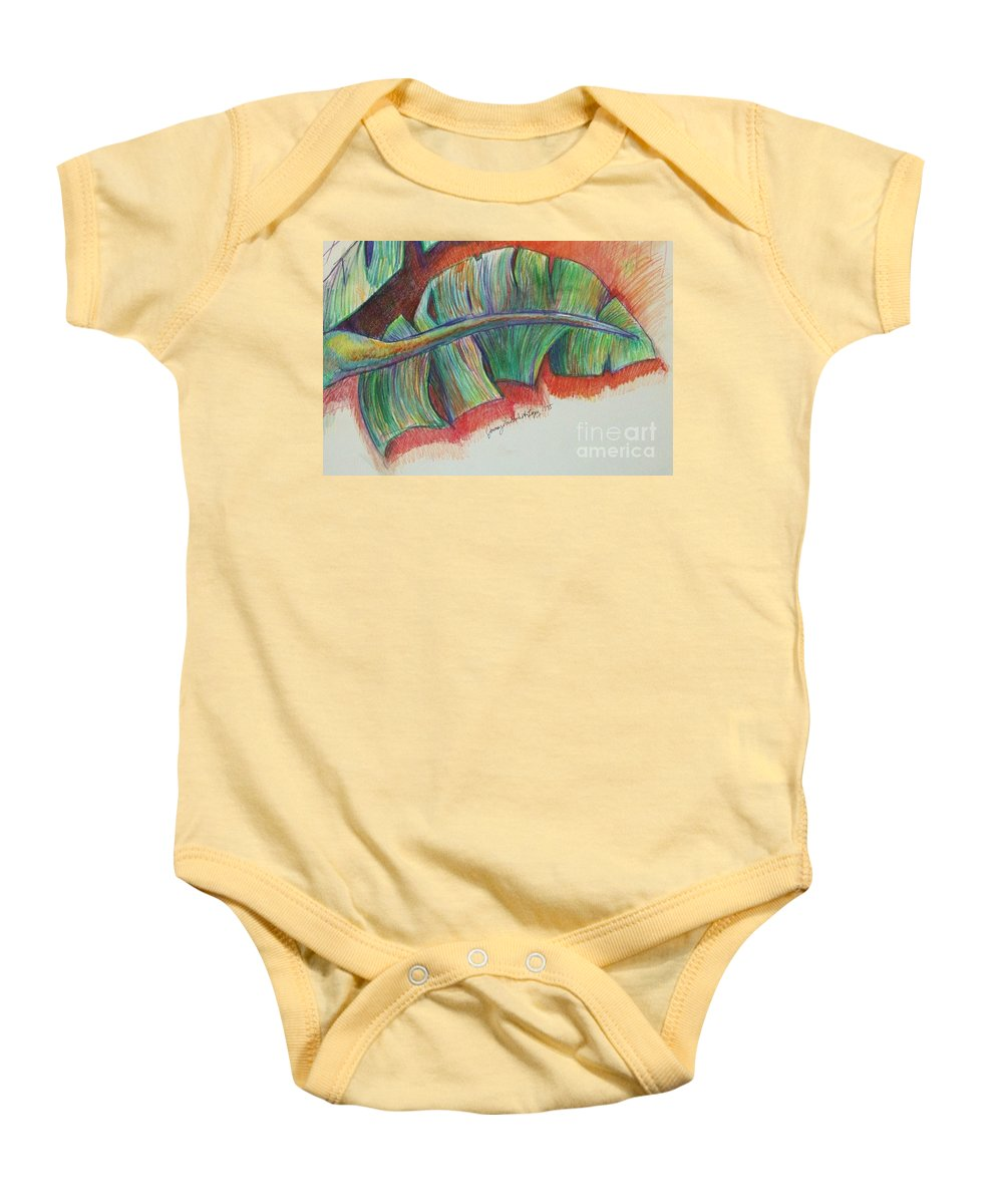 Trees Baby Onesie featuring the drawing Banana Leaves by Jamey Balester