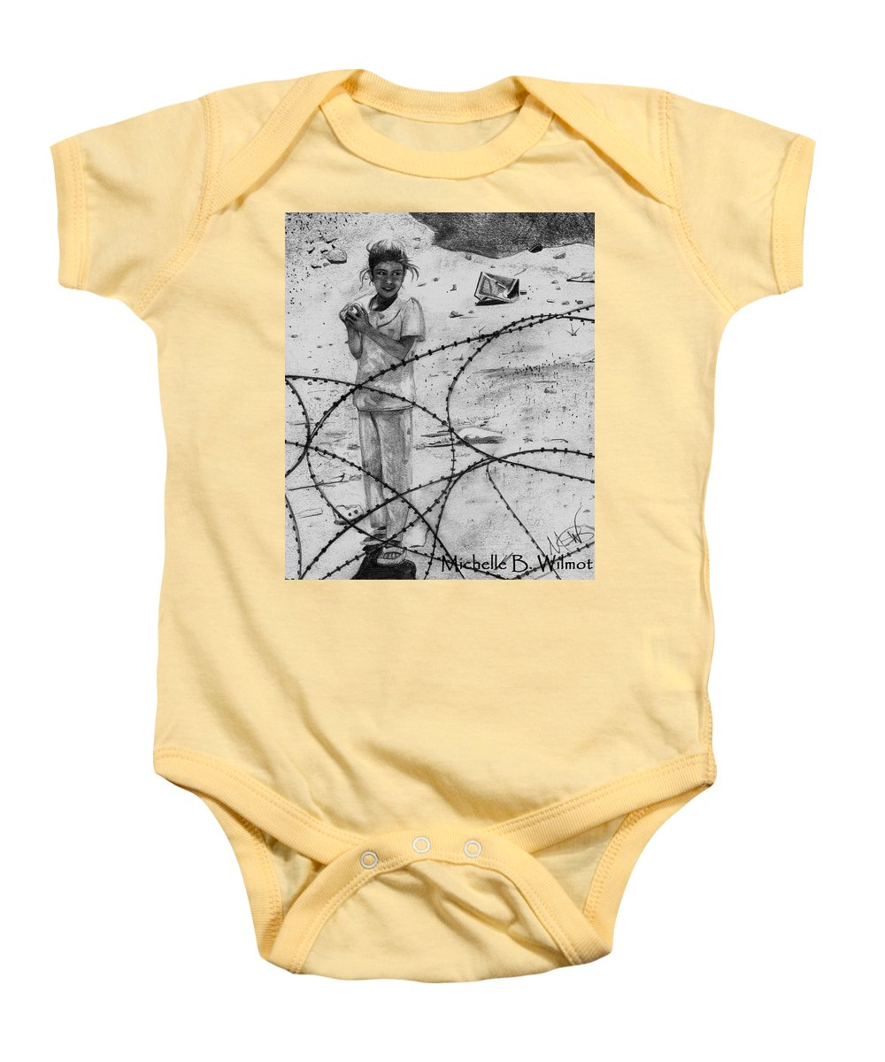 Iraq Baby Onesie featuring the drawing Bara'a by Michelle Dallocchio