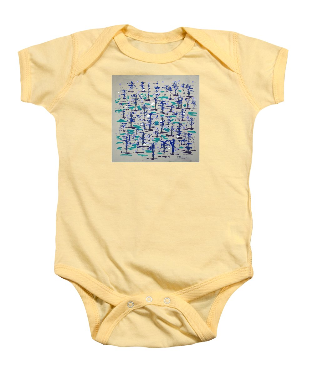 Abstract Baby Onesie featuring the painting Bare Trees by J R Seymour