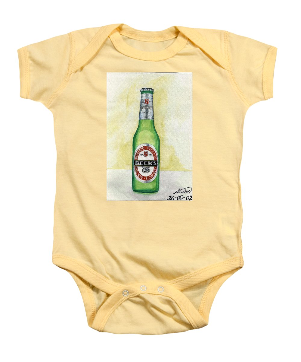 Botle Baby Onesie featuring the painting Becks by Alban Dizdari