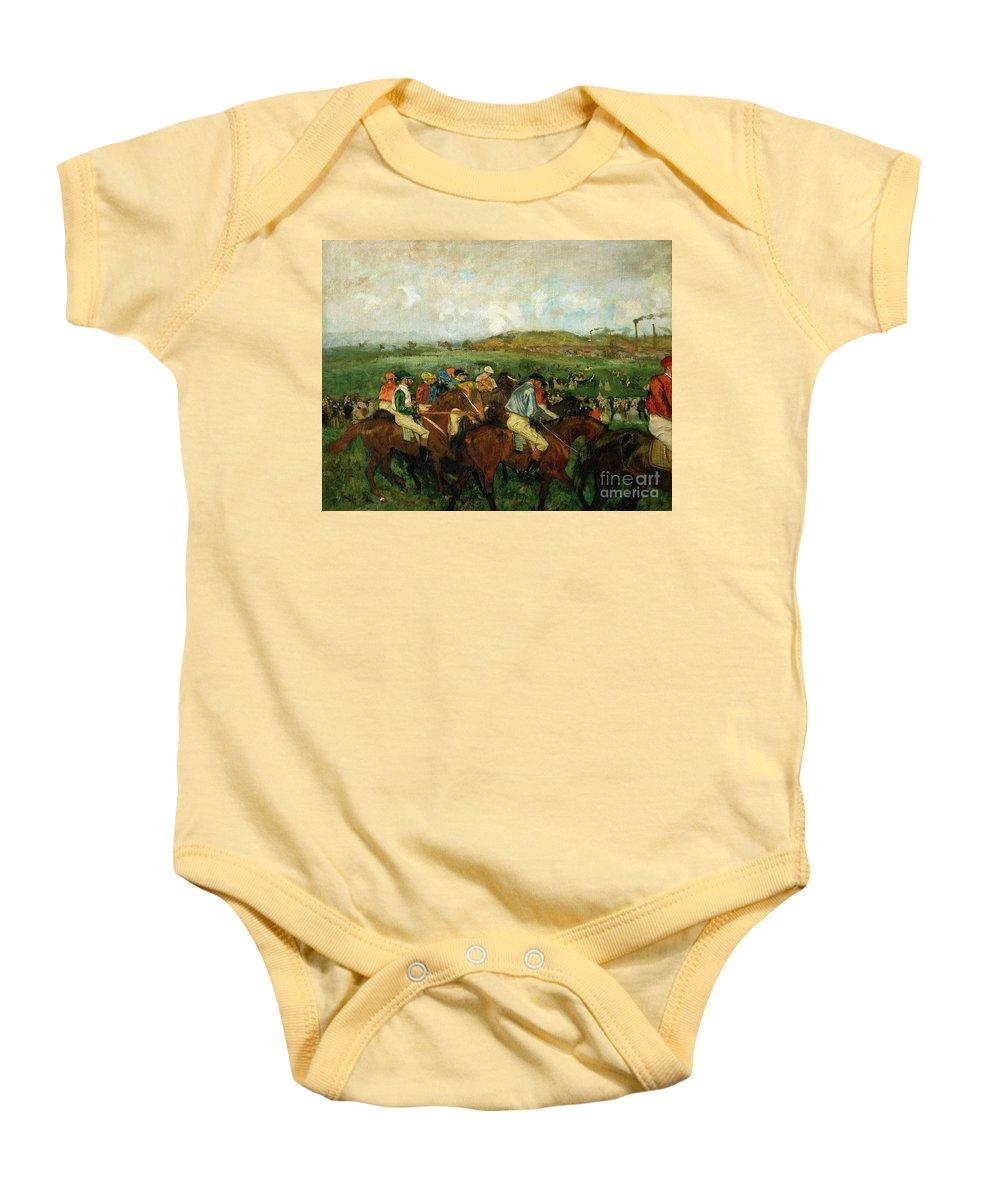 Gentlemen Race. Before The Departure Baby Onesie featuring the painting Before The Departure by Edgar Degas
