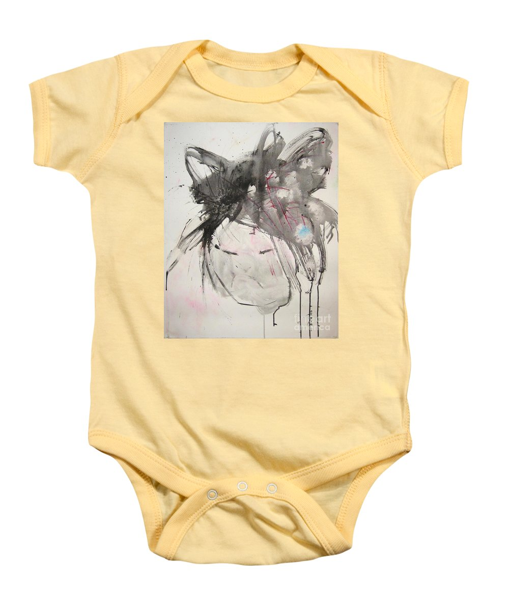 Black And White Paintings Baby Onesie featuring the painting Being Patient by Seon-Jeong Kim