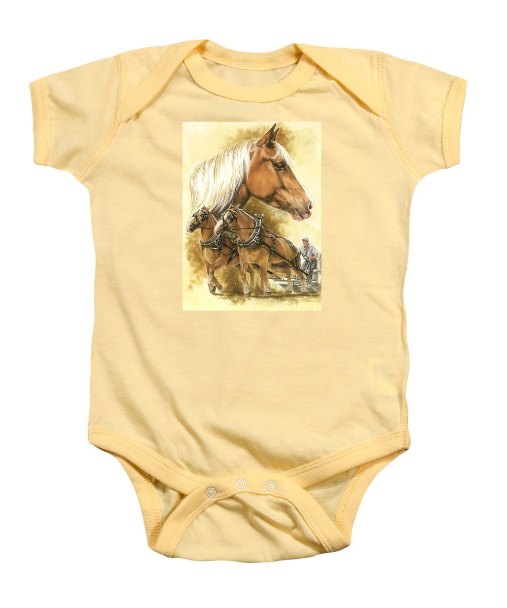 Equus Baby Onesie featuring the mixed media Belgian by Barbara Keith