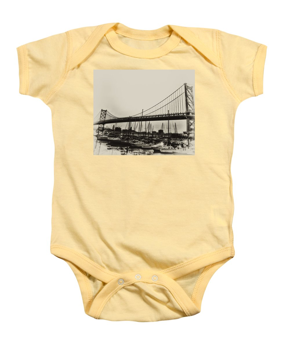 Philadelphia Baby Onesie featuring the photograph Ben Franklin Bridge From The Marina In Black And White. by Bill Cannon