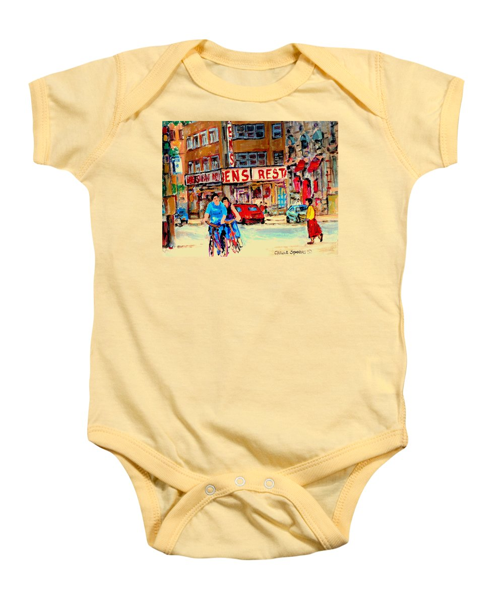 Montreal Baby Onesie featuring the painting Biking Past Ben by Carole Spandau