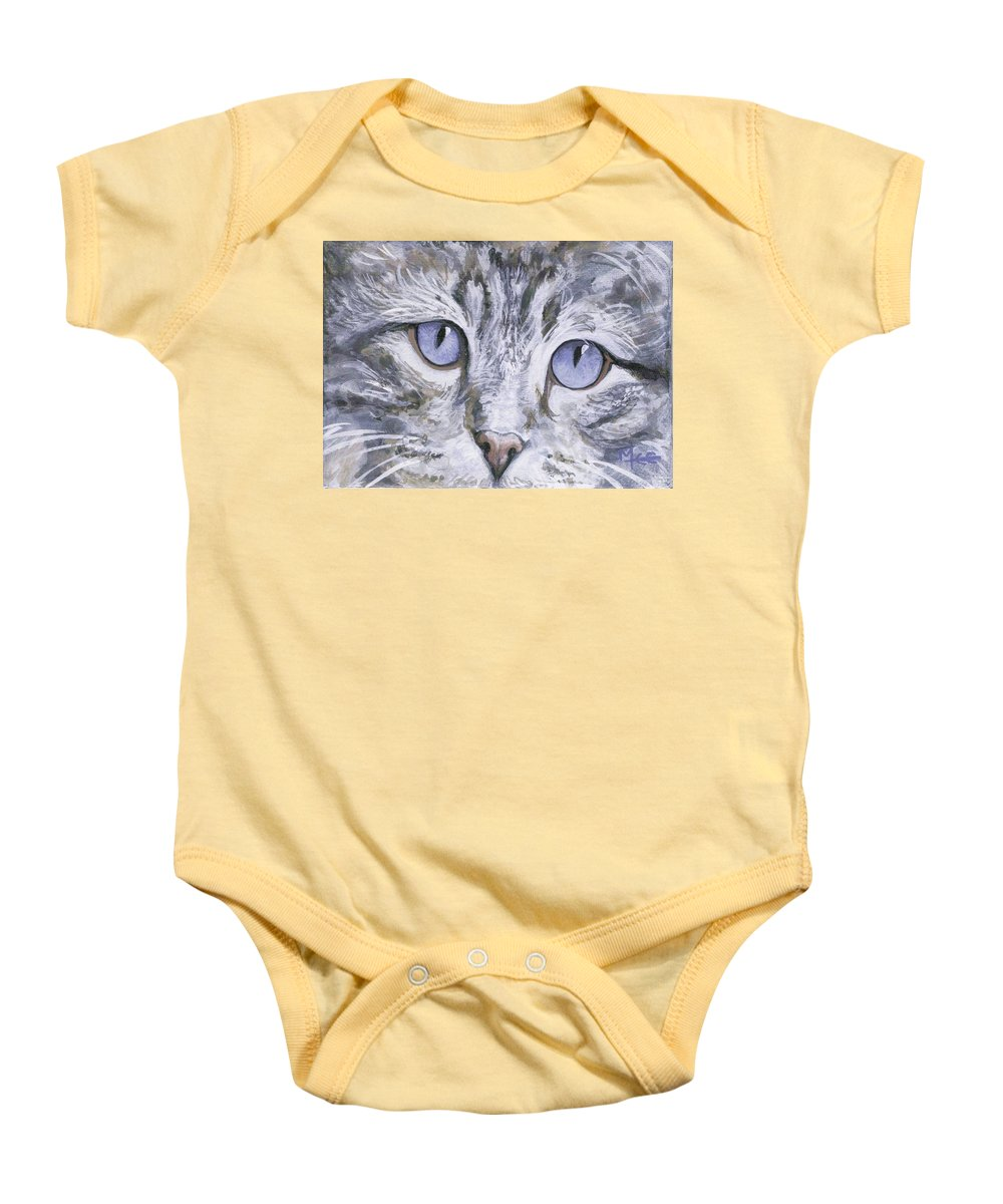 Charity Baby Onesie featuring the painting Bisous by Mary-Lee Sanders