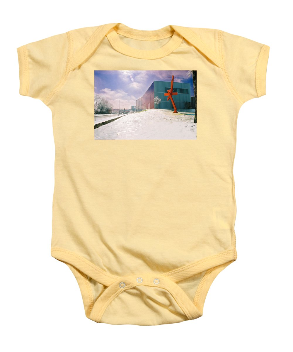 Landscape Baby Onesie featuring the photograph Bloch Building At The Nelson Atkins Museum by Steve Karol