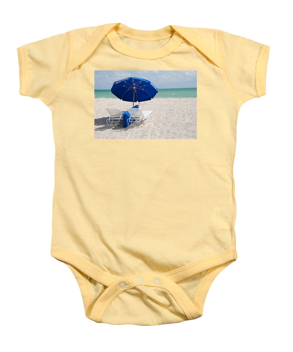 Sea Scape Baby Onesie featuring the photograph Blue Paradise Umbrella by Rob Hans