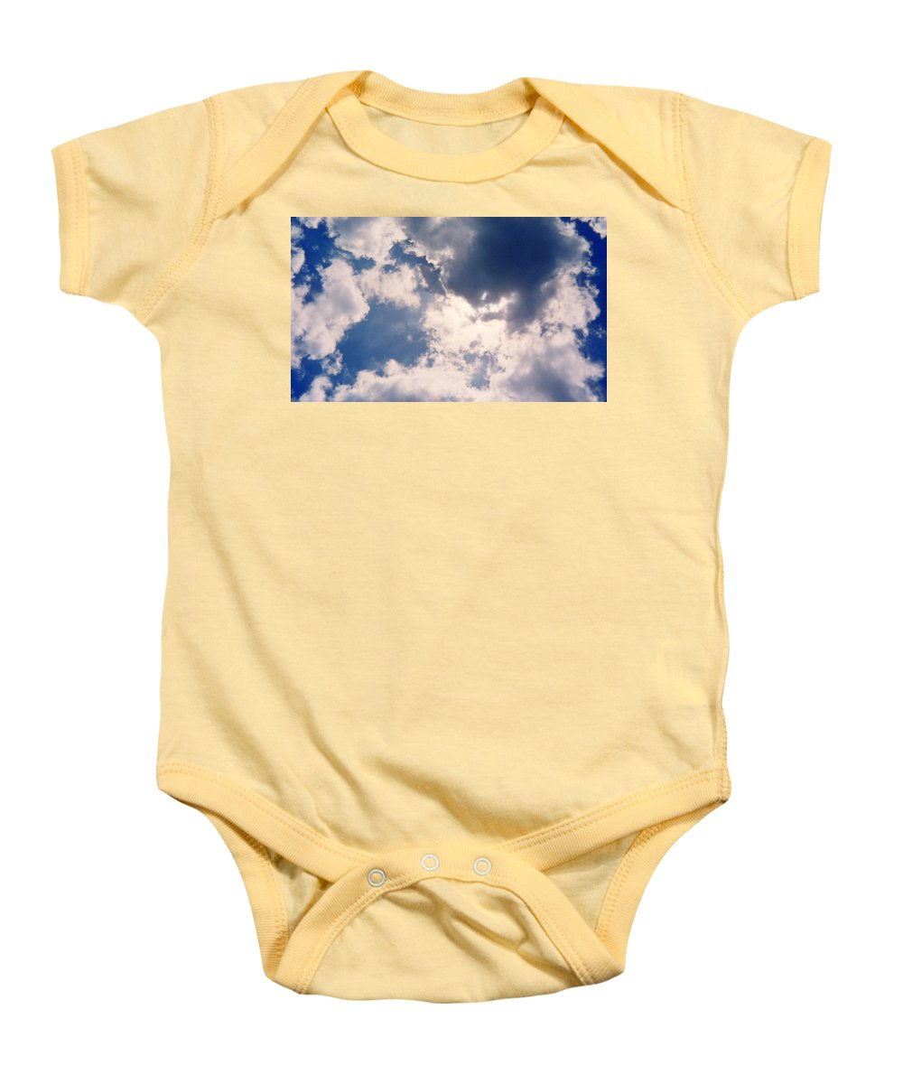 Blue Baby Onesie featuring the photograph Blue Sky And Clouds by Cindy New