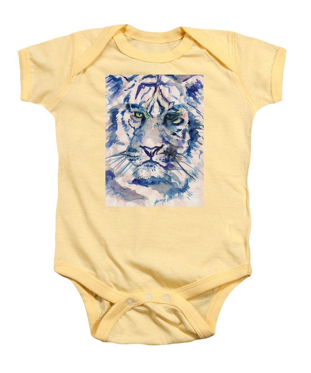 Blue Baby Onesie featuring the painting Blue Tiger by Jamey Balester