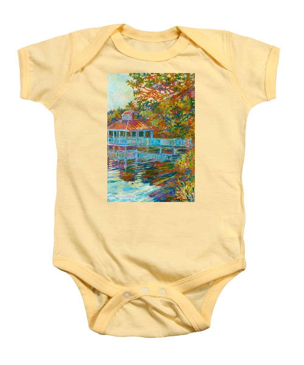 Mountain Lake Baby Onesie featuring the painting Boathouse At Mountain Lake by Kendall Kessler