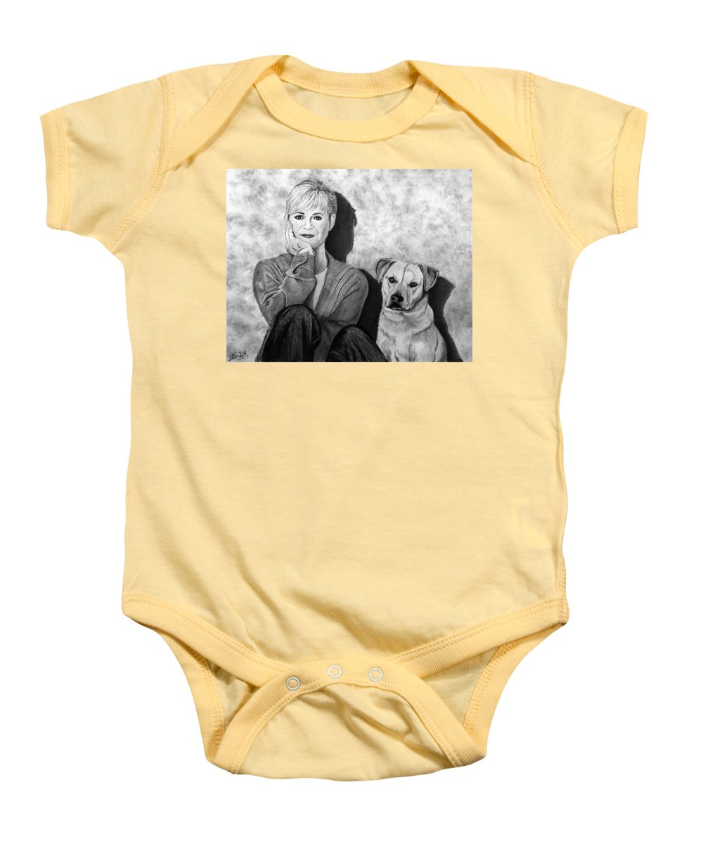 Bonnie Hunt And Charlie Baby Onesie featuring the drawing Bonnie Hunt And Charlie by Peter Piatt