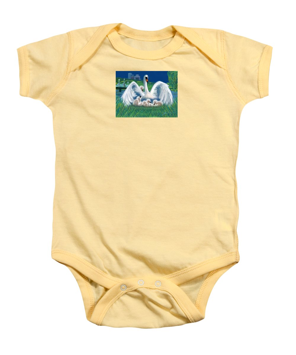 Martin Richard Baby Onesie featuring the digital art Boston Embraces Her Own by Jean Pacheco Ravinski