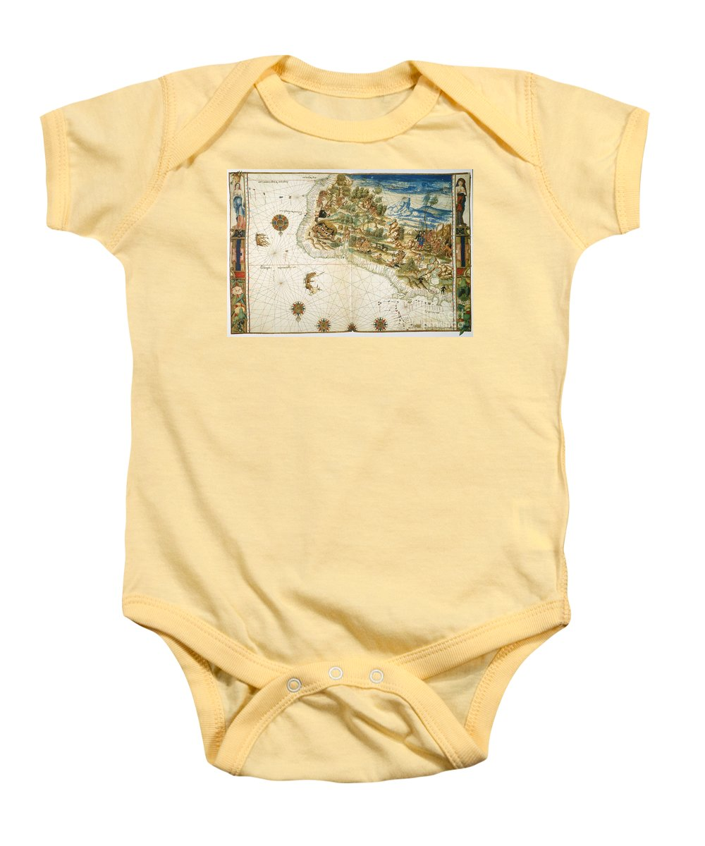 1547 Baby Onesie featuring the photograph Brazil: Map And Native Indians by Granger