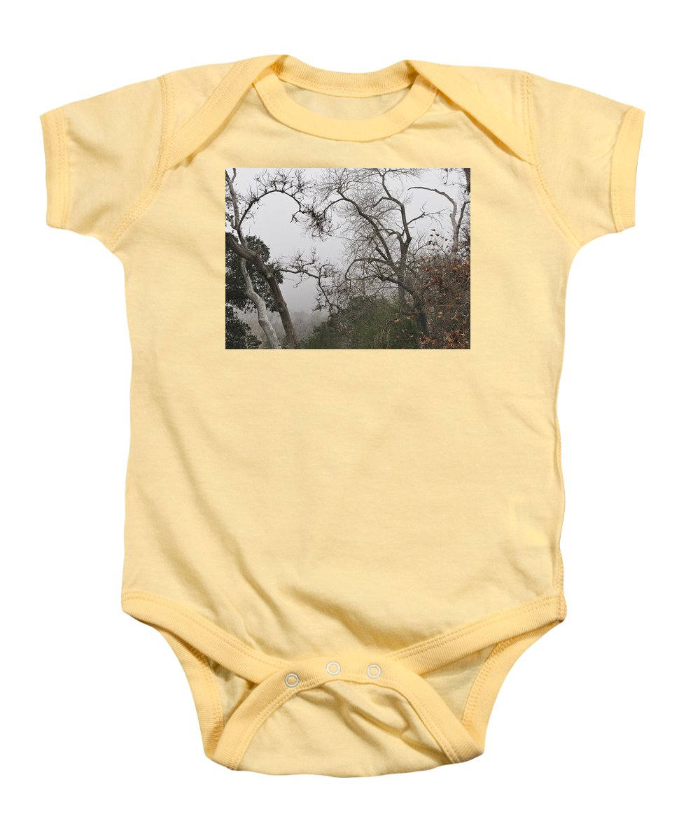 Fog Baby Onesie featuring the photograph Broken Heart In Fog by Karen W Meyer