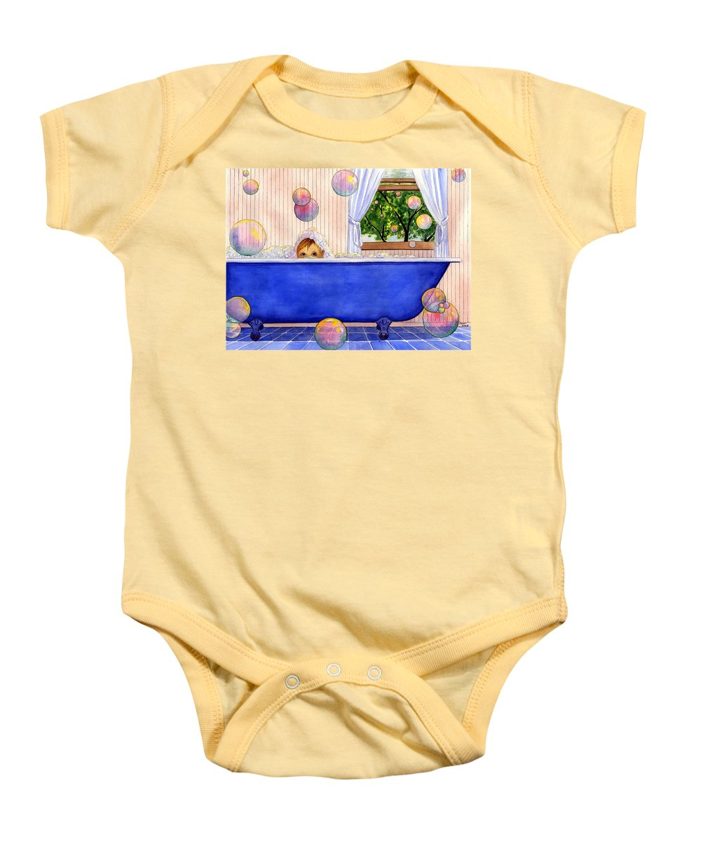 Bath Baby Onesie featuring the painting Bubbles by Catherine G McElroy