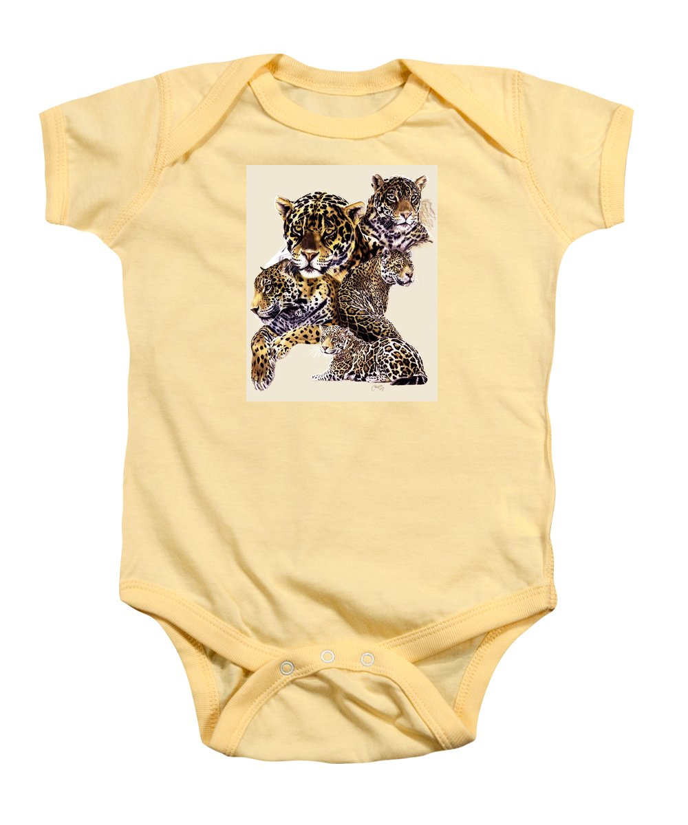 Jaguar Baby Onesie featuring the drawing Burn by Barbara Keith