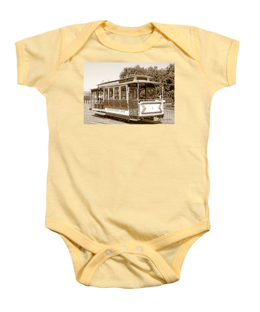 San Francisco Baby Onesie featuring the photograph Cable Car by Donna Blackhall