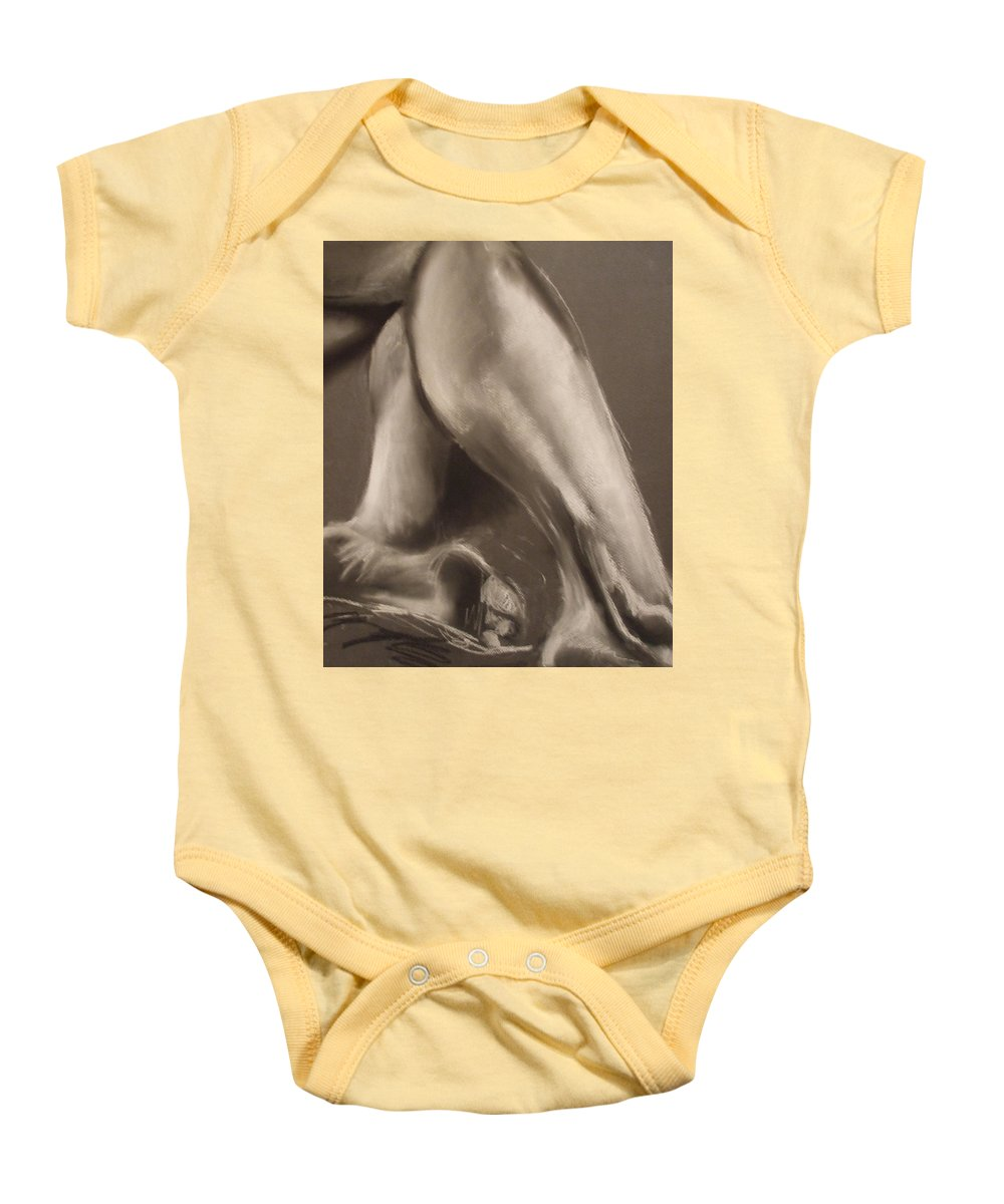 Legs Baby Onesie featuring the drawing Calves And Feet by Julie Fischer
