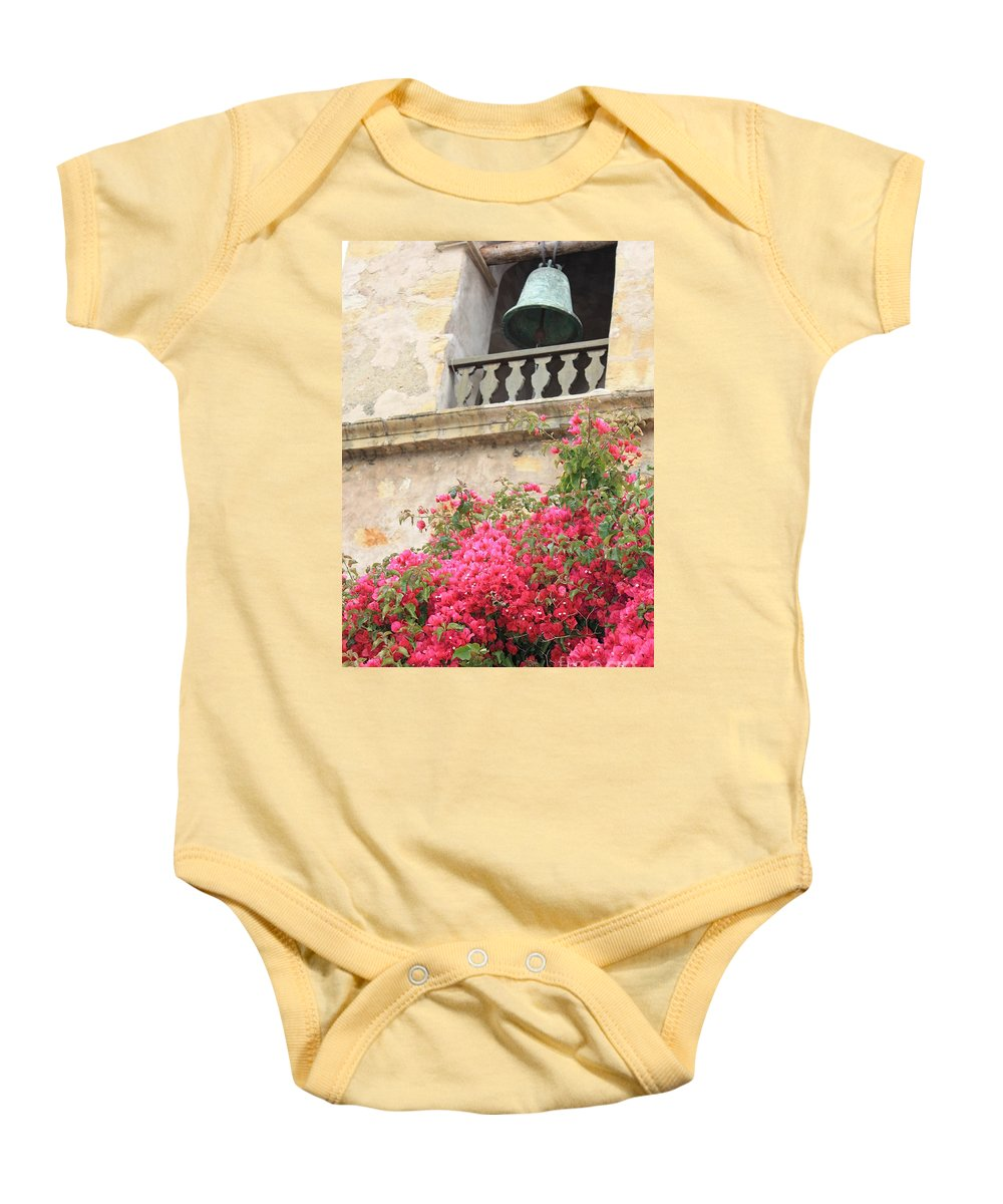 Carmel-by-the-sea Baby Onesie featuring the photograph Carmel Mission Bell by Carol Groenen