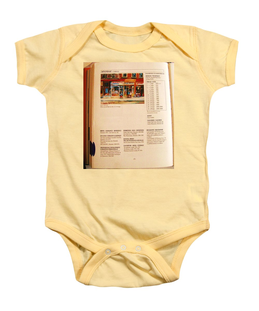 Carole Spandau Listed In Magazin'art Biennial Guide To Canadian Artists In Galleries 2000-2001 Edit Baby Onesie featuring the painting Carole Spandau Listed In Magazin'art Biennial Guide To Canadian Artists In Galleries 2000-2001 Edit by Carole Spandau