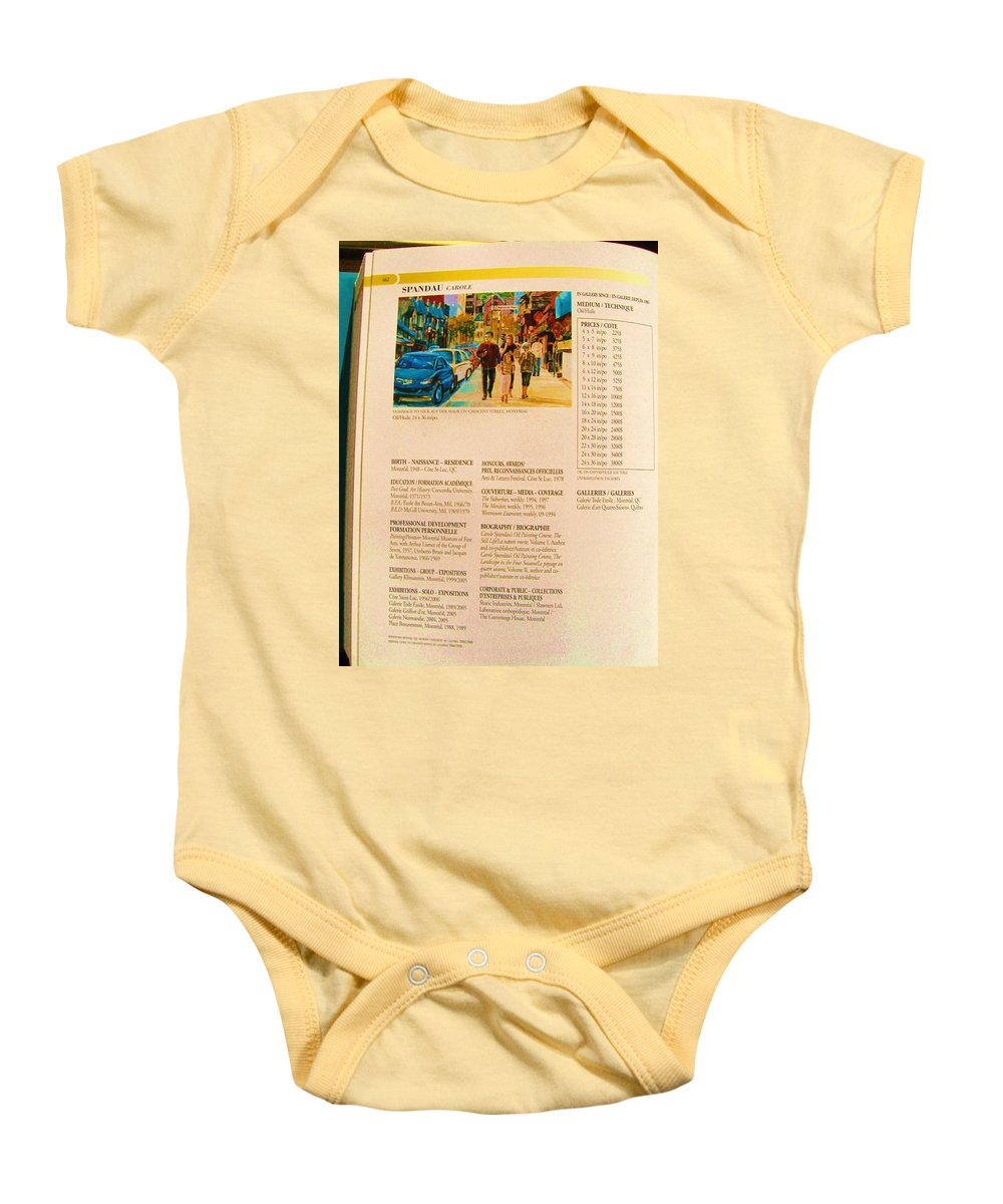 Baby Onesie featuring the painting Carole Spandau Listed In Magazin'art Biennial Guide To Canadian Artists In Galleries 2006-2008 Edit by Carole Spandau