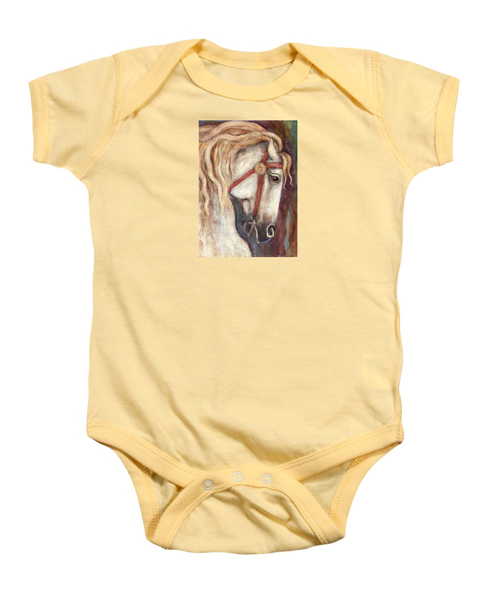 Horse Painting Baby Onesie featuring the painting Carousel Horse Painting by Frances Gillotti