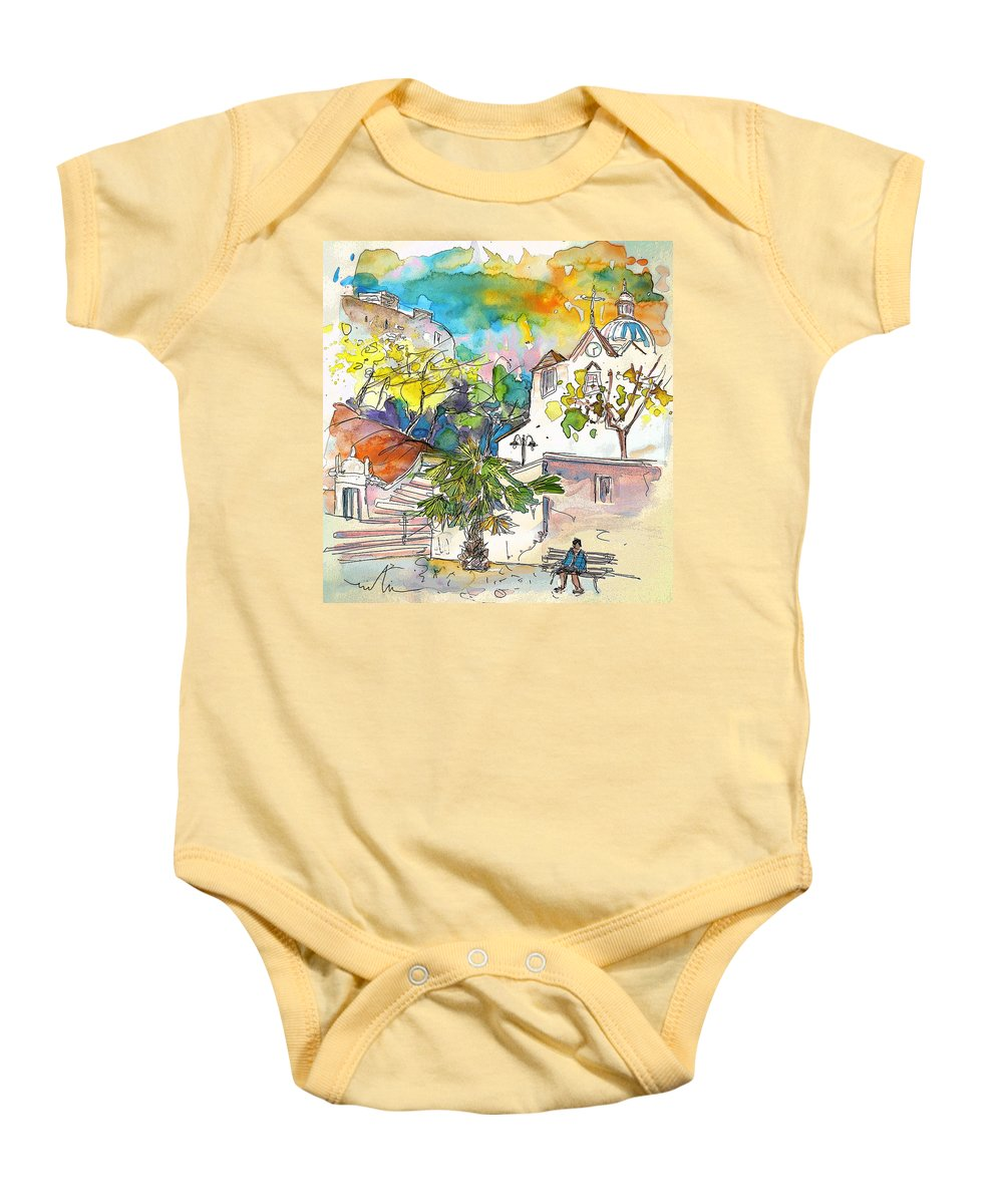 Castro Marim Portugal Algarve Painting Travel Sketch Baby Onesie featuring the painting Castro Marim Portugal 13 by Miki De Goodaboom