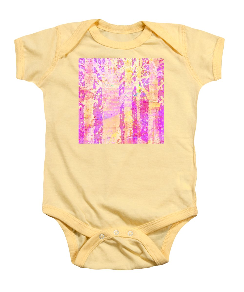 Abstract Baby Onesie featuring the digital art Cat And Mouse by Rachel Christine Nowicki