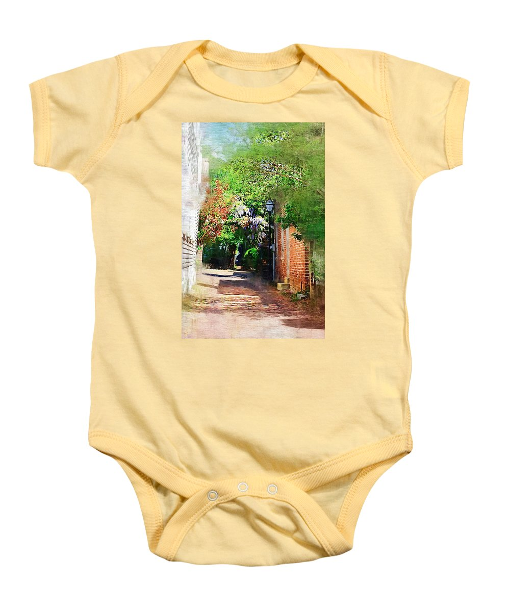 Alley Baby Onesie featuring the photograph Charlestons Alley by Donna Bentley