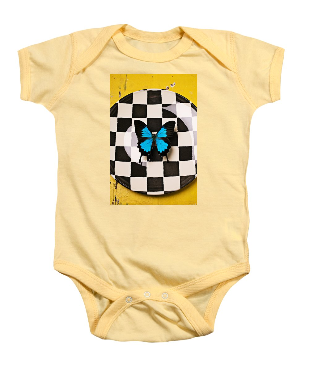 Blue Baby Onesie featuring the photograph Checker Plate And Blue Butterfly by Garry Gay