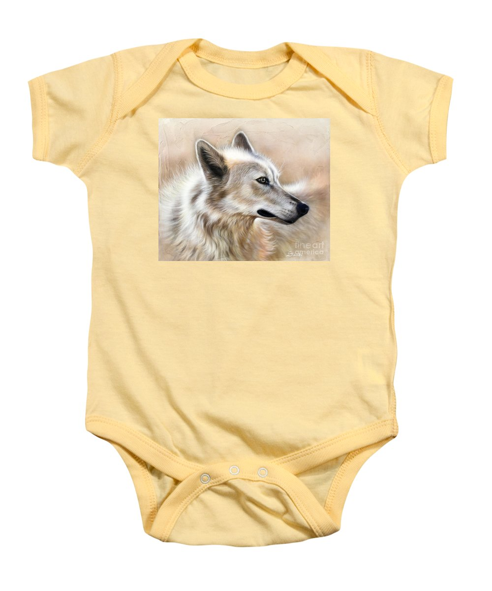 Acrylic Baby Onesie featuring the painting Cheyenne by Sandi Baker