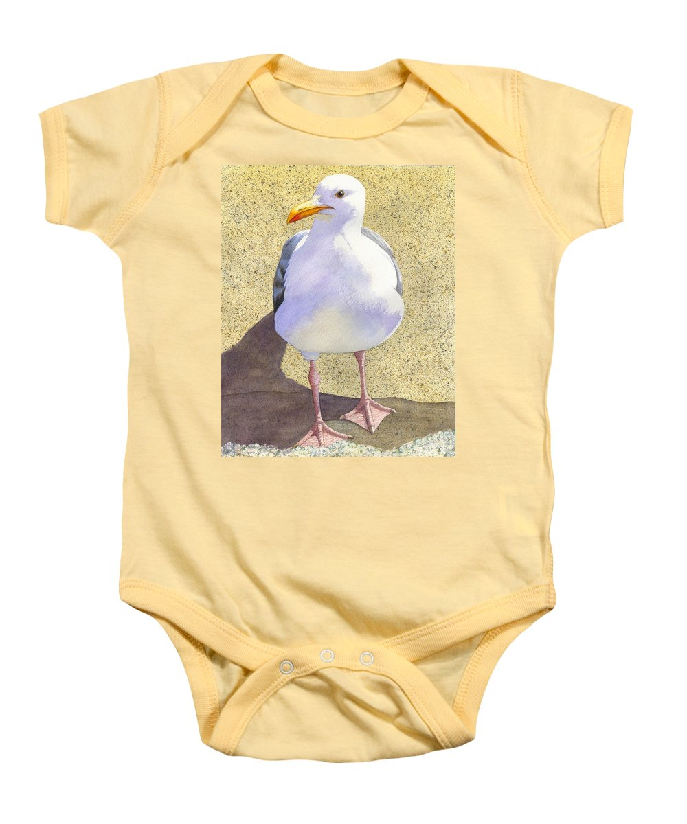 Seagull Baby Onesie featuring the painting Chilly by Catherine G McElroy
