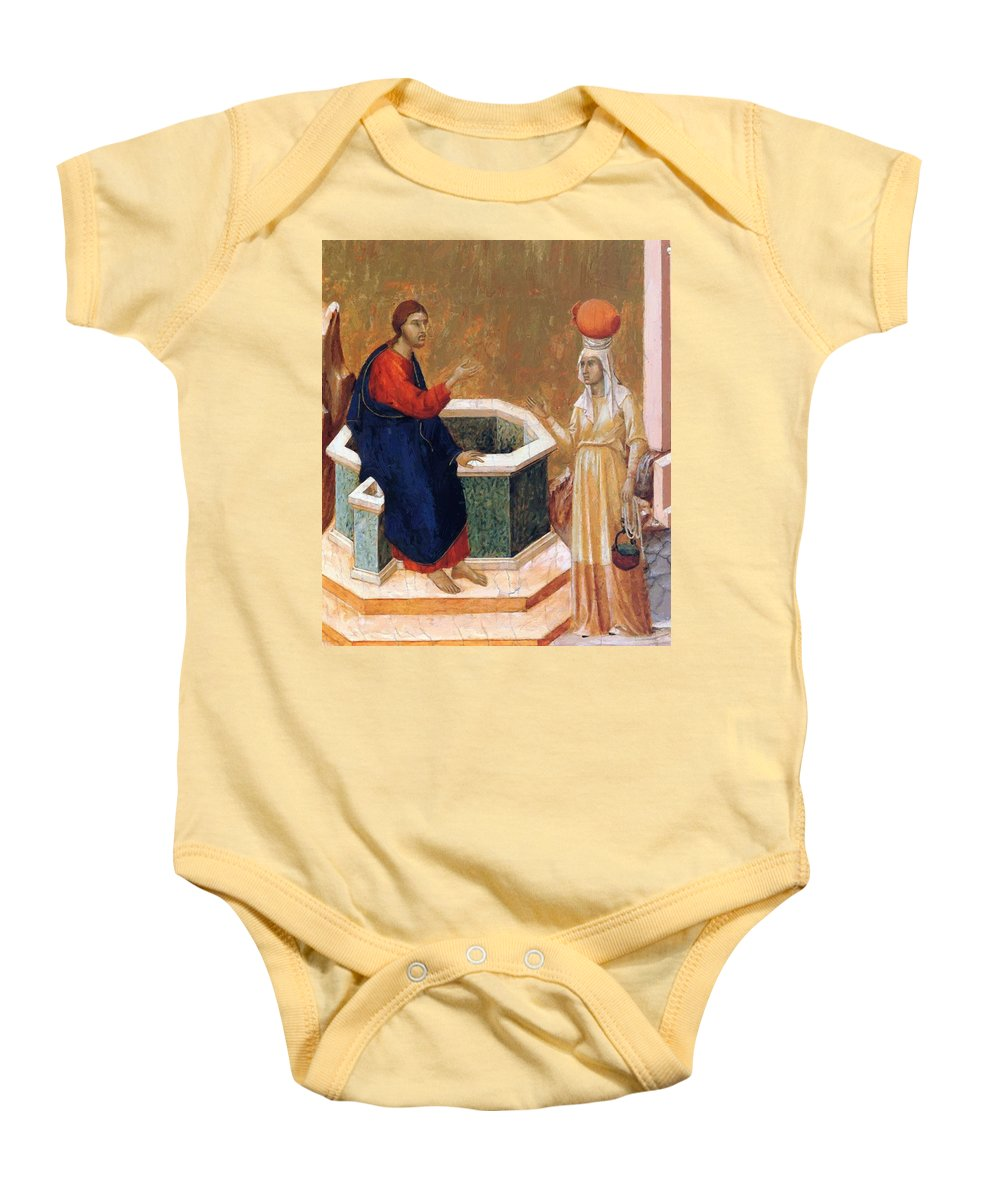 Christ Baby Onesie featuring the painting Christ And The Samaritan Woman Fragment 1311 by Duccio