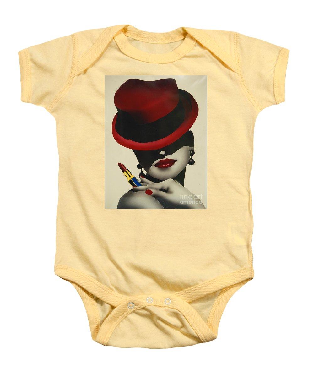 Christion Dior Red Hat Lady Baby Onesie featuring the painting Christion Dior Red Hat Lady by Jacqueline Athmann