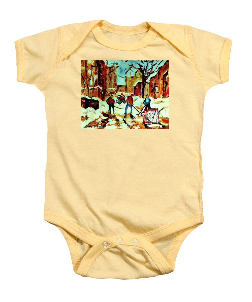 Montreal Baby Onesie featuring the painting City Of Montreal Hockey Our National Pastime by Carole Spandau