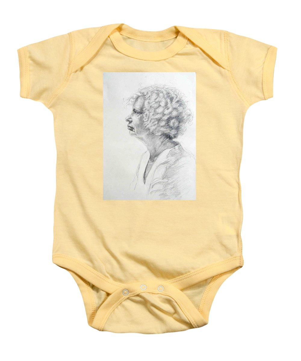 Portrait Baby Onesie featuring the drawing Claire by Laurie Paci