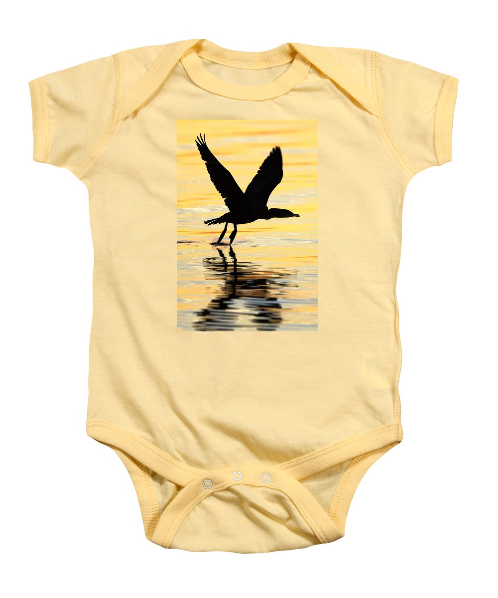 Cormorant Baby Onesie featuring the photograph Cormorant Silhouette by Janet Fikar