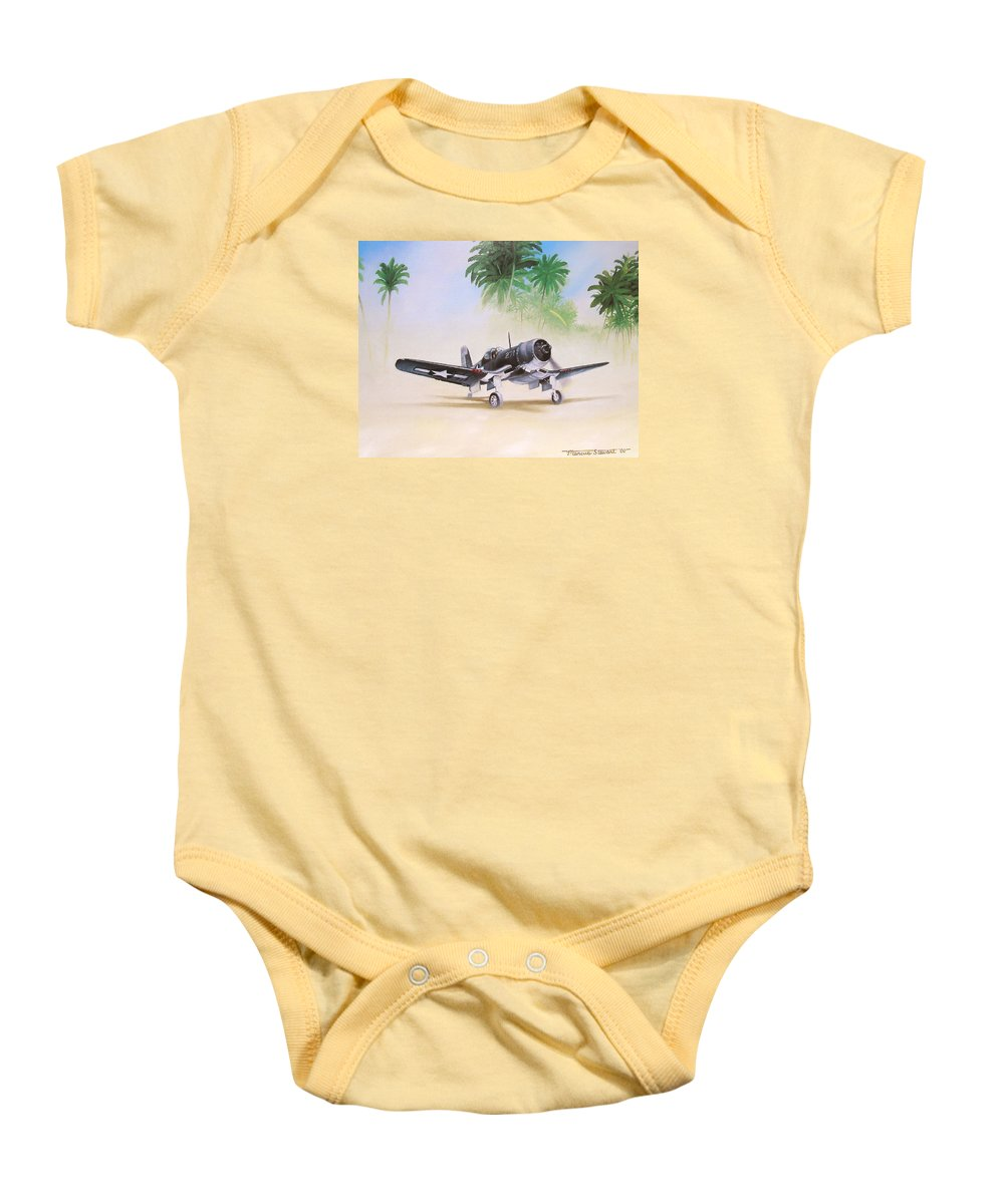 Aviation Baby Onesie featuring the painting Corsair Preflight by Marc Stewart