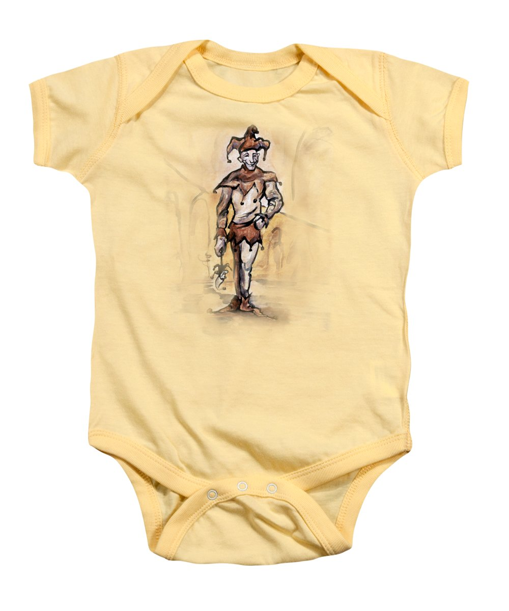 Jester Baby Onesie featuring the painting Court Jester by Kevin Middleton