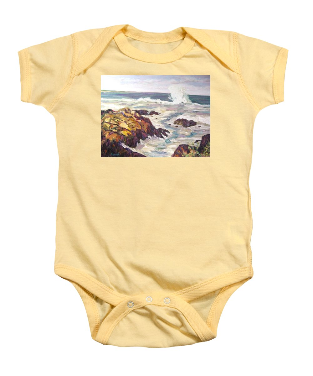Water Baby Onesie featuring the painting Crashing Wave On Maine Coast by Richard Nowak